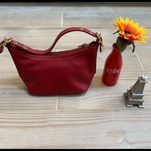Coach Red Leather Baguette Hobo 9844